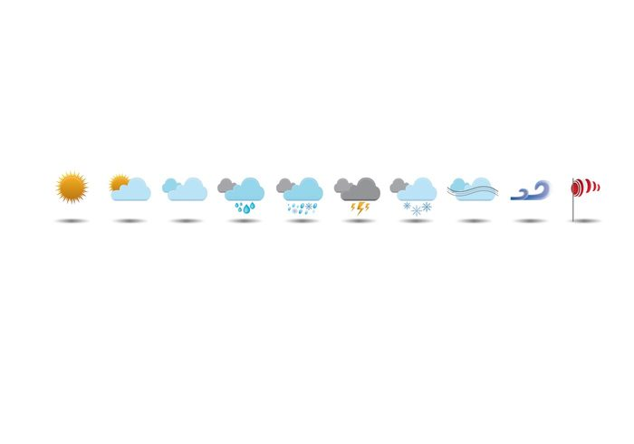 wind weather vector sunny rainy rain lightning illustrator icons cloud