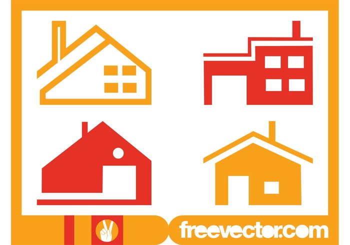 Windows stylized roofs real estate logos icons houses house homes doors chimneys buildings architecture