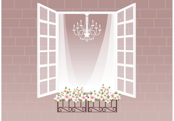 window curtain window white wall vintage vector stonework stone simple retro planters pink open old flower decorative decor curtain crystal chandelier brick architecture architectural