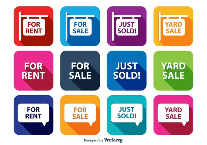 yard sale sign yard sale trendy icons sold sign sold out sold sign sale icons sale retail long shadow information for sale sign for sale flat buying business