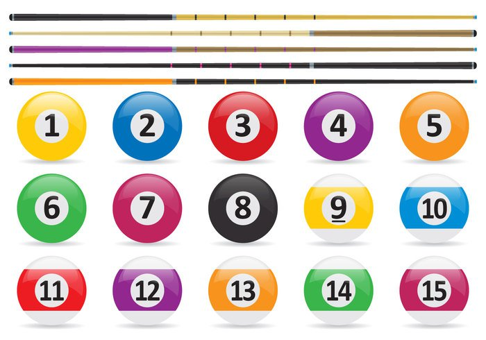twelve Thirteen table stick sport red Recreation pool sticks pool ball pool leisure isolated glossy game four fifteen cue colorful blue billiards billiard balls background 8 ball