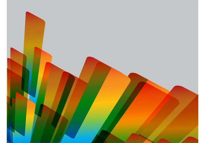 versatile rounded Rectangles rainbow perspective geometric shapes decorations colors background abstract