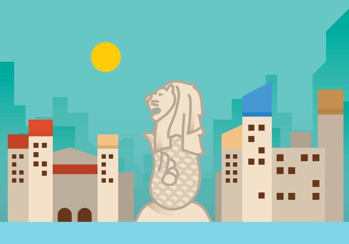 water urban travel symbol statue southeast skyline Singapore Place nationality national merlion landmark icon famous economic country collection city character business building bay Asian asia architecture
