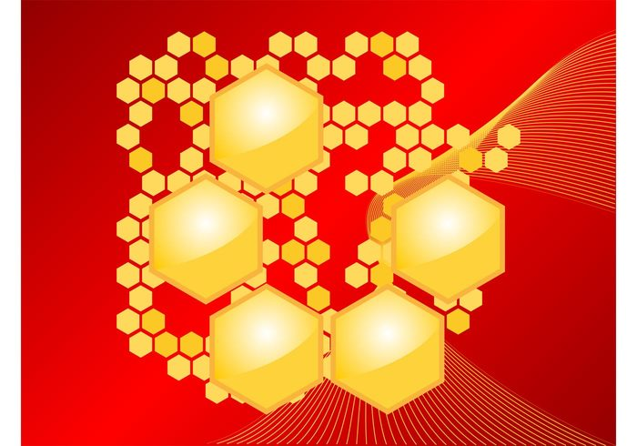 waving polygons nature lines linear honey hexagons decorative decorations bees background abstract