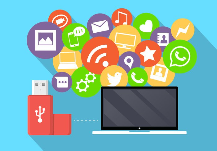 wireless web technology talk symbol speech social sign set phone person people pen drive notebook network mobile minimal message media internet information illustration icons icon group global flat digital connection computer communication chat business bubble background