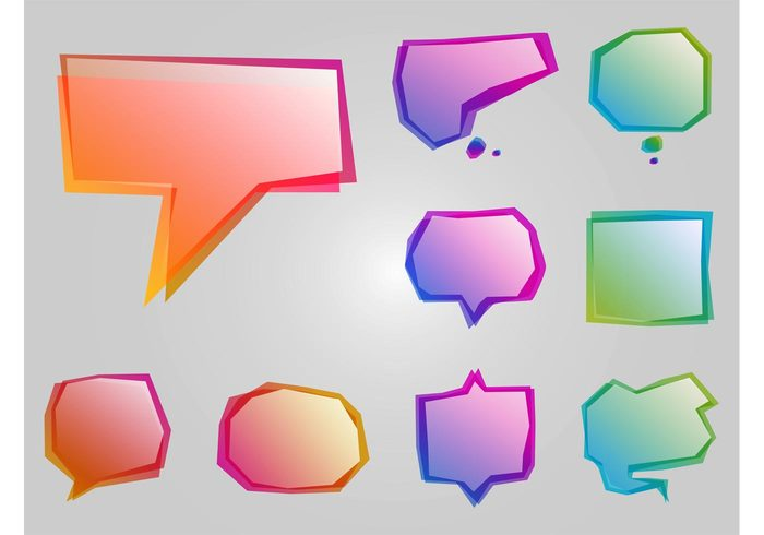 stickers speech bubbles shapes Messaging logos icons gradients decorative decorations decals Comic Book colors Chat icons