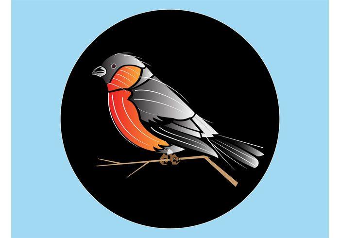 wings twig tree spring Sing round Plumage nature Geometric Shape fly feathers circle branch beak animal