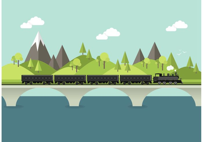 tree travel transportation transport train tracks train bridge train track Steamship steamer steam smoke sky simple shape railway railroad rail road Papercraft moutnain mountains mountain locomotive landscape Journey flat mountains flat engine cloud bridge over water Bridge