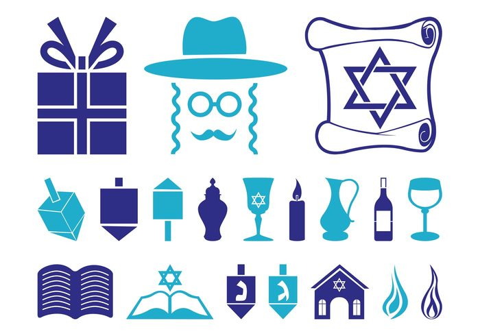 Torah Synagogue symbols Spinning tops religion present judaism Jews jewish icons holiday Hanukkah flames Dreidels