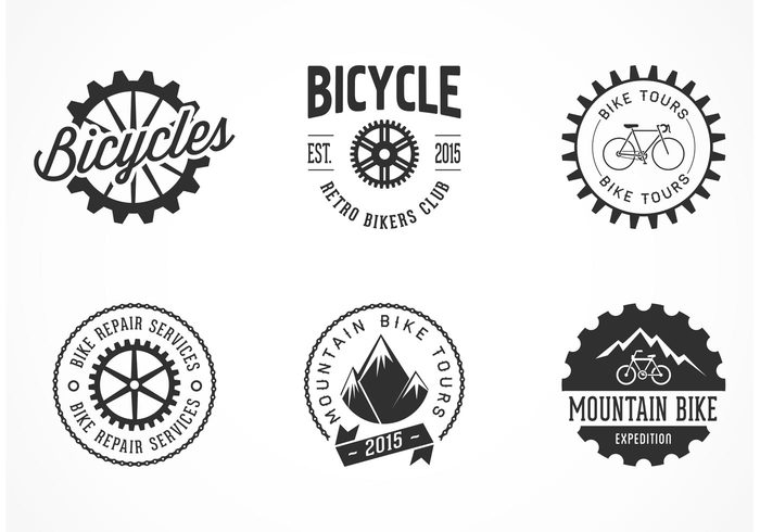 wheel vintage vector typography typographic type symbol style sticker stamp sign set service seal ride repair parts mountain label insignia illustration icon graphic emblem element design cyclist cycle chain biker bike sprocket bike bicycle badge