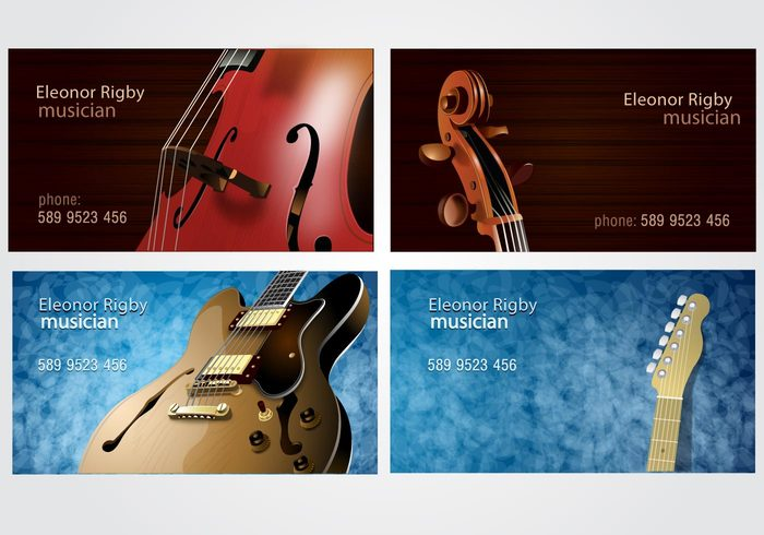 violin musician musical music instruments guitar entity calling card business cards bass