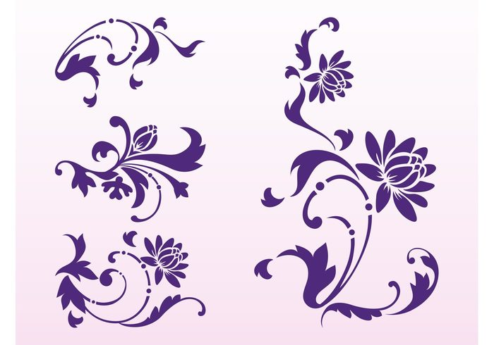 swirls Stems spring spirals plants petals ornaments nature leaves flowers flower floral decorations bud blossoms blossom