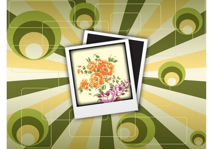 vintage template retro polaroid picture photography photo frame photo olive instant green gold flowers floral