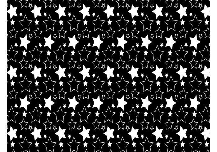 Textiles swatch stars sparkle sky shine seamless repeating pattern outline night black and white backdrop