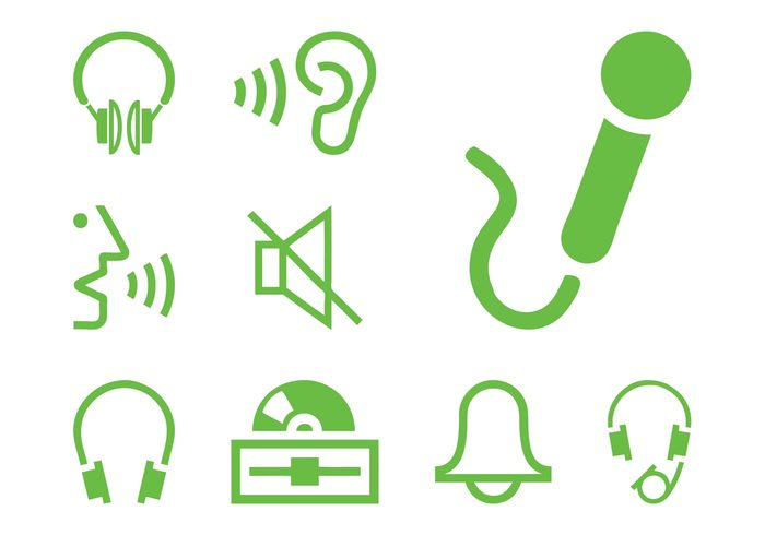 voice technology tech talk symbols sound person music microphone mic listen icons headphones Ear CD bell alarm