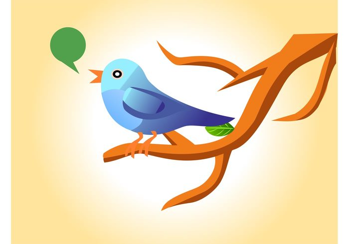 wings wildlife twigs tree spring speech bubble speech balloon Sing nature leaf branch animal