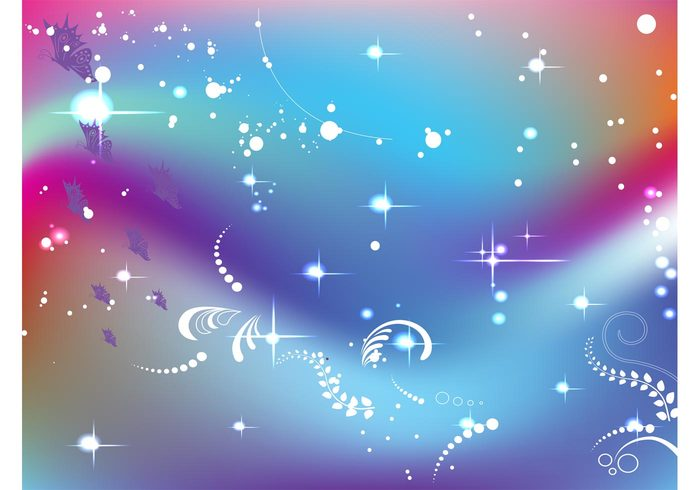 vines swirl stars rainbow psychedelic nature insects flowers floral filigree Fantasy vector dots butterfly