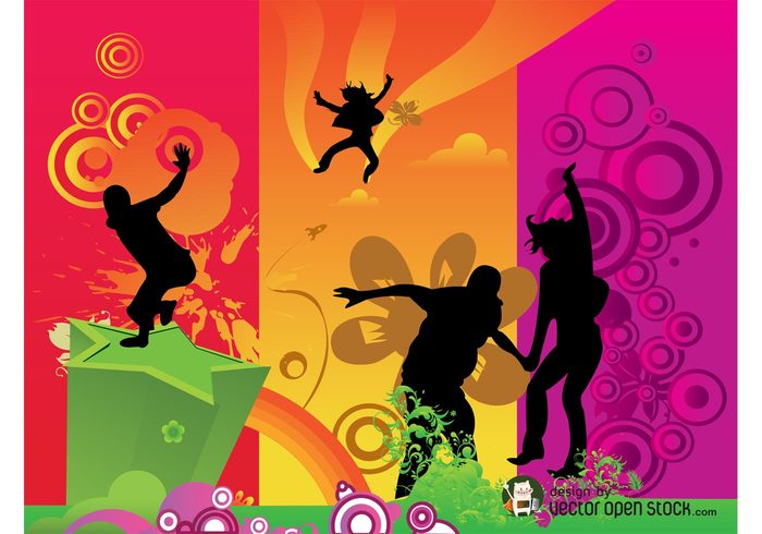 wallpaper star silhouettes plants people jump happy happiness flowers colors colorful background abstract