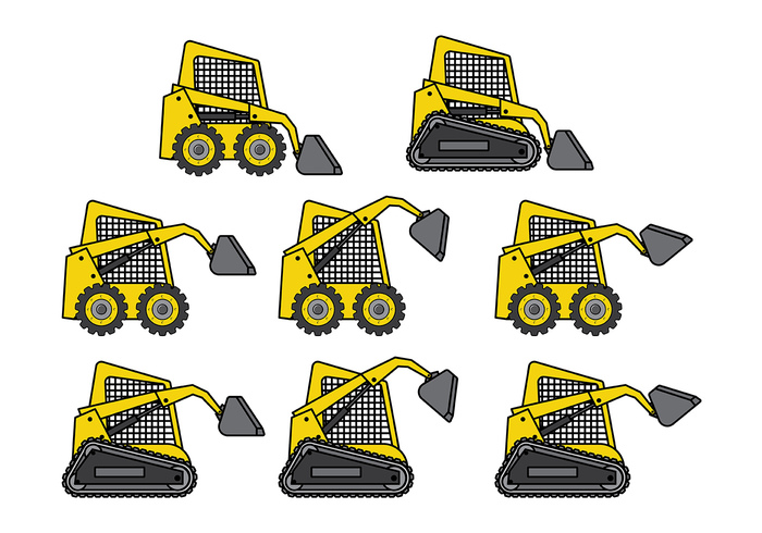 yellow work wheel view vehicle transportation transport track steer small skid steer skid silhouette scraper scoop road mover Mining machinery machine loader load land isolated industry industrial icon heavy forklift field excavation equipment Engineering earth dump truck Digging construction compact colored color cartoon car building bucket background auto