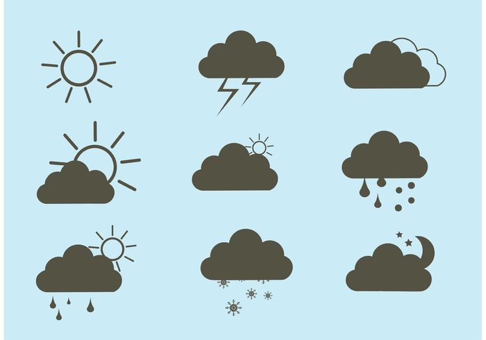 winter weather water thunder temperature symbol sun summer storm spring snow sky sign season rainy rain nature lightning icon Fall element design cloudy cloud climate