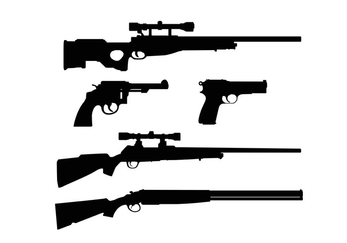 weapon war sniper silhouette shotgun shot shape rifle revolver police pistol murder military metal isolated handgun gun shapes gun gangster death crime cartridge bullet black army