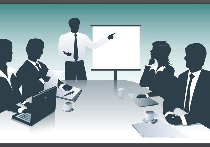 presentation notebook meeting laptop corporate company coffee businesswoman businessman business
