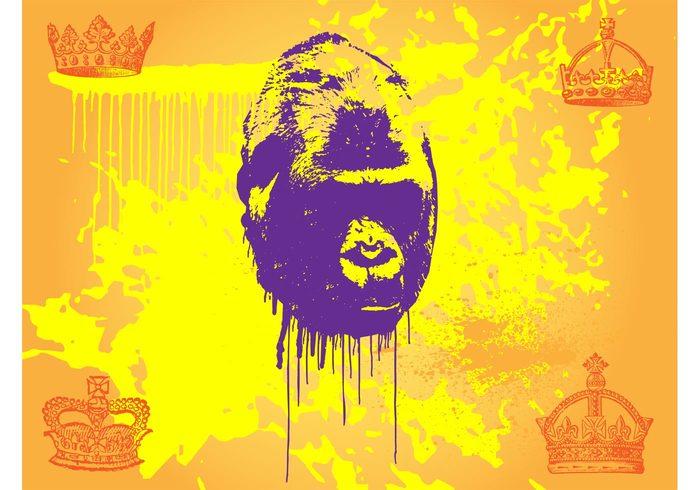 wildlife splatters safari royal Primate paint monkey mammal King kong king grunge graffiti face crowns ape animal