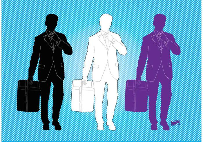 young work urban suitcase suit success silhouette shape profile professional pose people man male figure contour business briefcase active