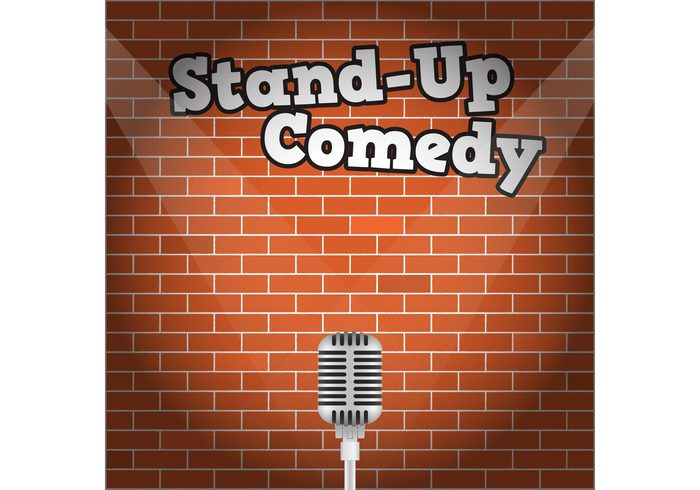 up Theatrical television story stand up comedy Stand up stand stage spotlight show play music live entertainment drama concert comedy comedienne comedian brick wall brick background brick audience artist