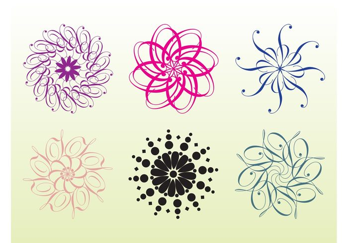 swirls stylized shapes round logo flowers floral design elegant dots cool branding badge background abstract