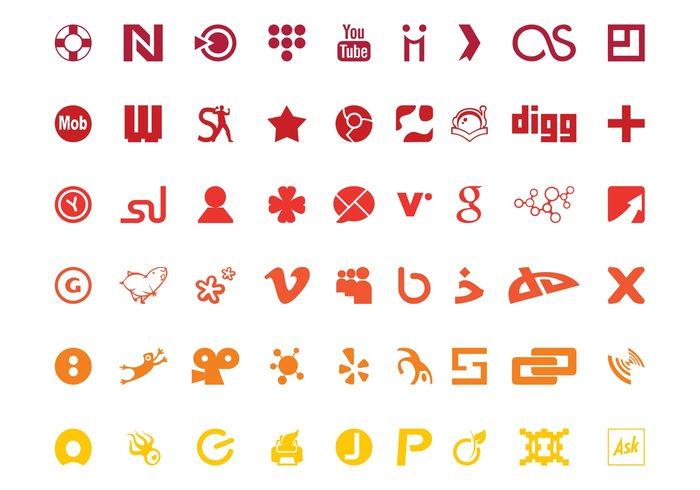 youtube yelp websites web vimeo technology tech social online Myspace logos logo internet icons DIGG deviantart