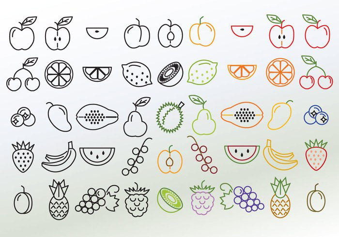 web watermelon vegetarian vegetable vector tropical thin symbol strawberry sign set red plum pineapple pictogram pear peach papaya outline organic orange nutrition nature many mango line lemon kiwi juice illustration icons icon Healthy health grape fruit fresh food exotic durian design currant collection cherry blueberries Berry banana background apple