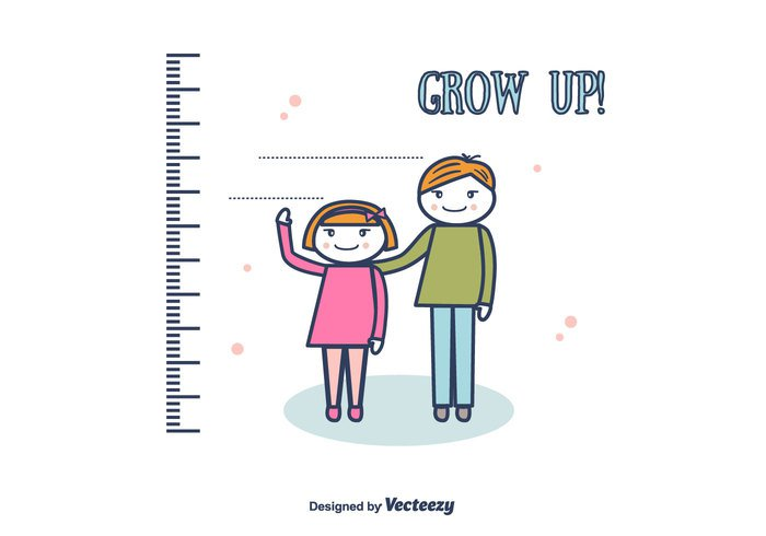 vector up tall Sister ruler Rule meter wall Measuring measurement measure kid illustration height Healthy happy growth growing grow up grow girl free drawing child Bumper Brother boy background
