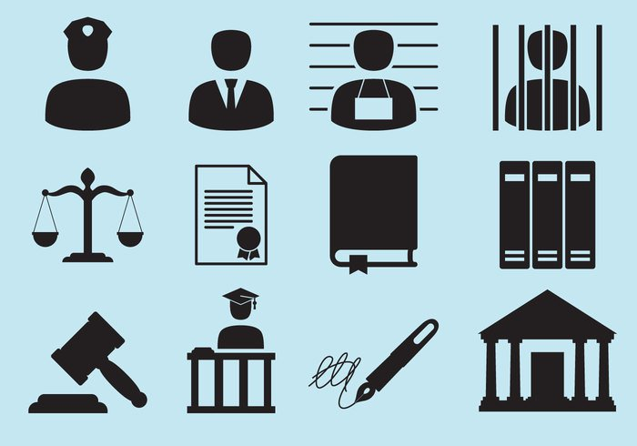 White Background vector textbook symbol signature Scales of Justice Prisoner prison police car notepad legal icons legal lawyer law office Law Justice Jury judge Jail Investigation illustration icon set icon handcuff guilty graphic gavel fingerprint drawing document diploma dead crime courtroom courthouse court corpse contract briefcase book body black attorney
