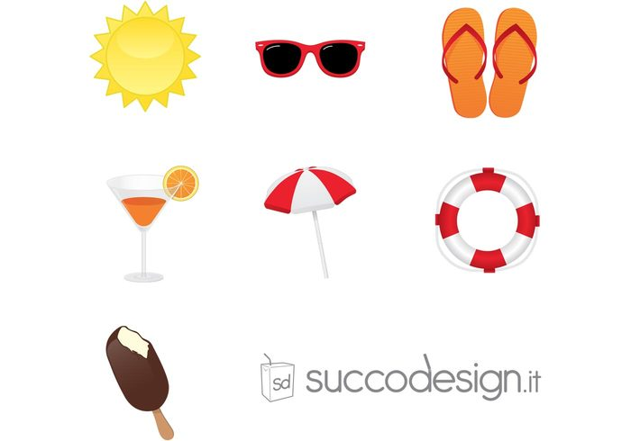 sunglasses sun summer lifebuoy icon ice cream flip-flop drink beach umbrella