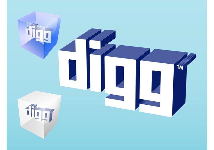 website web technology tech shiny online News logos internet icons glossy Digg vector Digg logo Digg button DIGG cubes boxes 3d