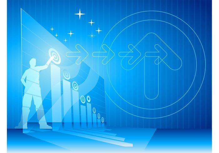 stripes striped sparkles silhouette person man diagram corporate circles businessman business bars bar chart arrows