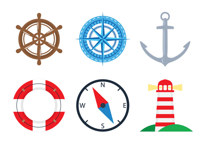 wheel water vessel vector vacations travel symbol spyglass set sea sailboat sail objects nautical nautica marine lighthouse lifebuoy life Journey island illustration element design cruise compass collection anchor ahoy adorable