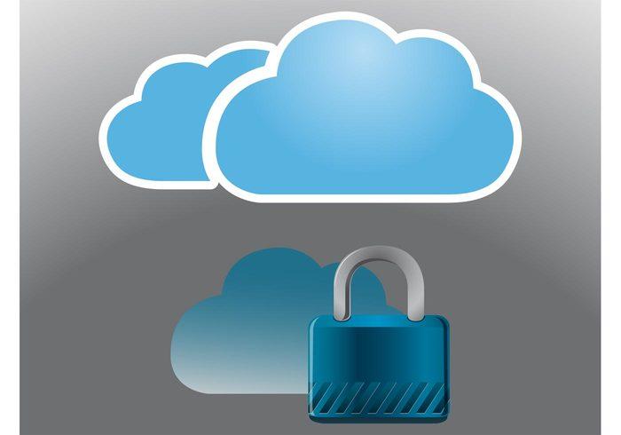 web weather technology tech sky security Privacy padlock online nature logos internet computers cloud computing Cloud computers