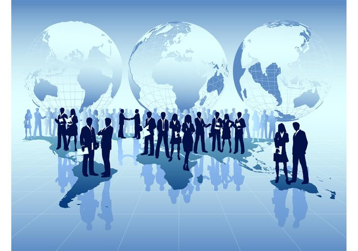 world work wallpaper template silhouettes professional Job globes global corporate businesswoman Businessperson businessman business background backdrop