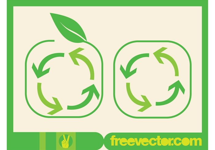 symbol recycling recycle plants nature logos leaf icons ecology eco arrows