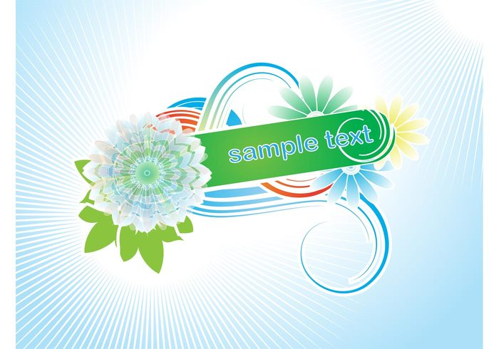 vector template swirl petals nature leaves flowers floral curves curl colorful clip art banner backdrop