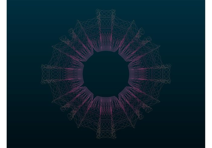 wireframe Wire frames waving waves star shapes round lines curves curved Colours Colourful circular circle