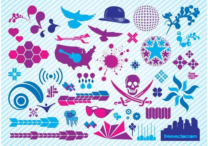 symbols shapes scrolls purple icons graphics fresh freebies free vectors Free footage cool clipart clip art blue