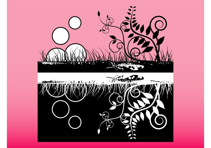 underground swirls swirling Stems soil plants nature growth growing grass flowers floral curves curved circles