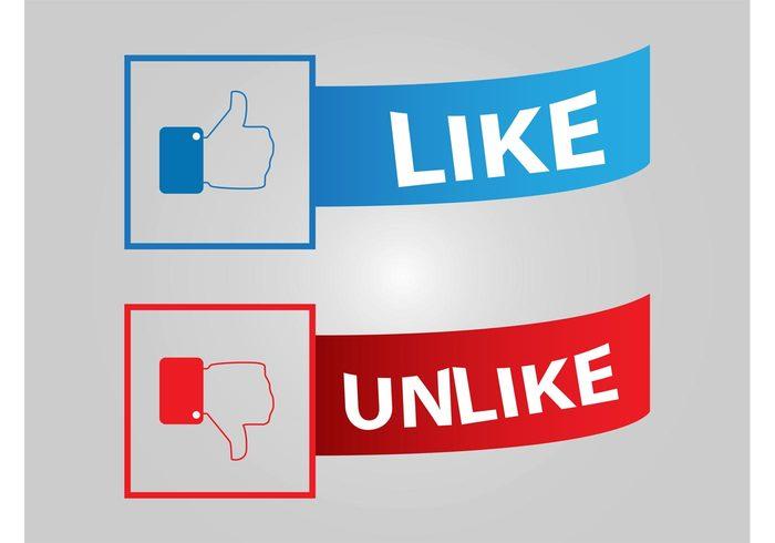 www website unlike thumbs up thumbs down social network social media online like internet icons Facebook vectors Dislike decals banners