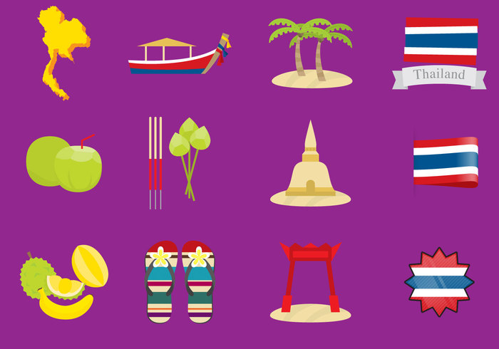 vector vacations travel traditional culture thailand thai culture temple symbol Sunshade set palm tree Nautical Vessel mask Journey jinrikisha illustration and painting icon diving deep-sea diving coconut palm tree cartoon Buddhism bangkok asia
