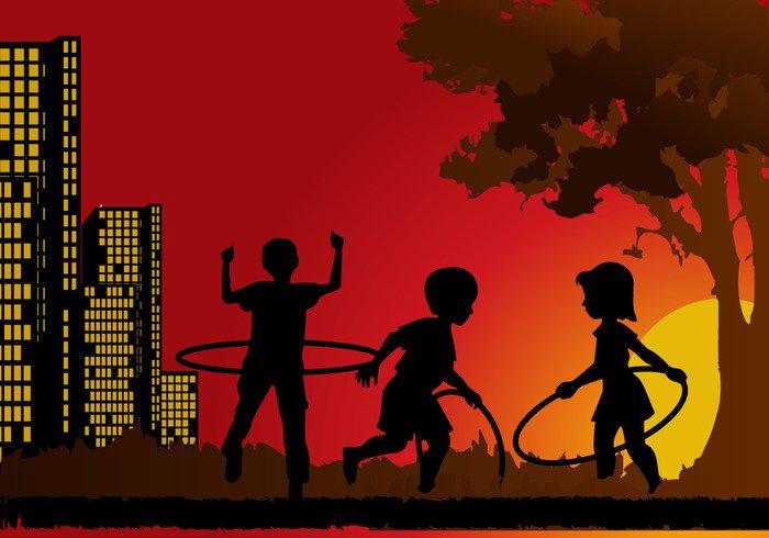 young silhouette series playmates playing playground play kids isolated illustration hula-hoop Hula hoops hawai games game friend child cartoon