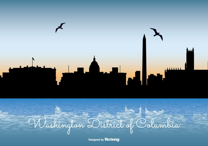 white washington skyline Washington dc washington USA United travel sunset sunrise states square skyscraper skyline sky silhouette reflection poster postcard monument modern landmark illustration high front downtown District day dark Columbia coast cityscape city skyline city building beautiful background architecture america