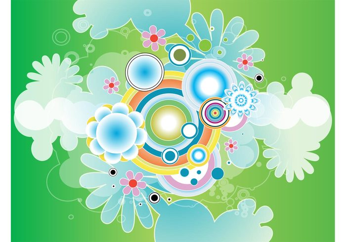 plants nature vector green gradient free backgrounds flowers floral dots colorful circle blossoms backdrop abstract